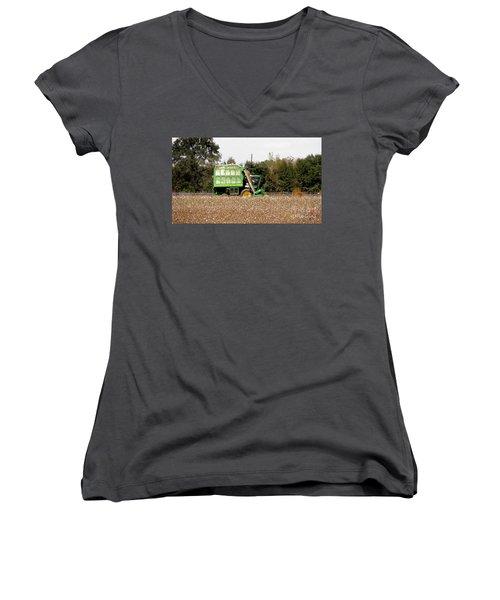 Cotton Picker Women's V-Neck T-Shirt (Junior Cut) by Donna Brown