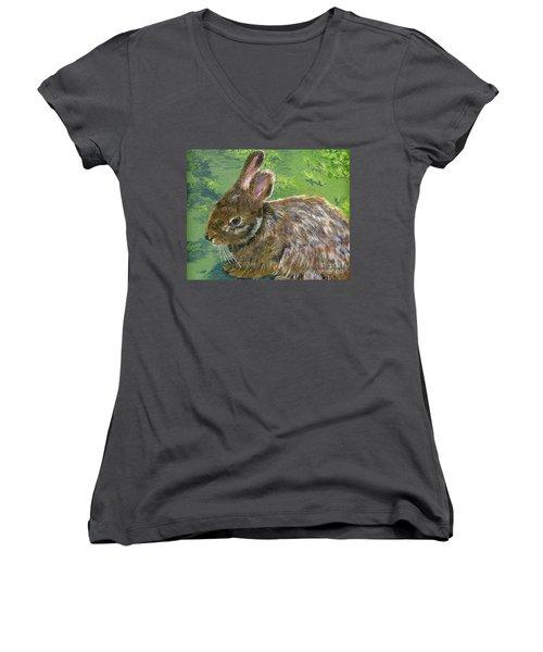 Cottontail Women's V-Neck T-Shirt (Junior Cut) by Lynne Reichhart
