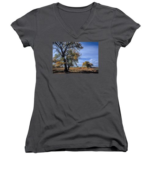 Cottonwood #5 Fall Ranch Colorado Blue Sky Women's V-Neck T-Shirt (Junior Cut) by John Brink