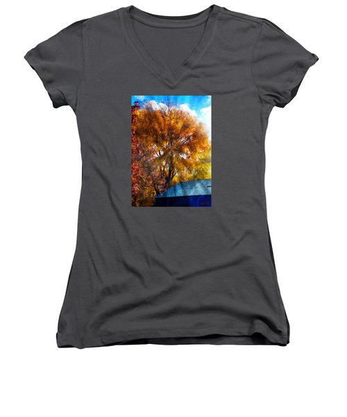 Women's V-Neck T-Shirt (Junior Cut) featuring the photograph Cottonwood Conversations With Cobalt Sky  by Anastasia Savage Ealy