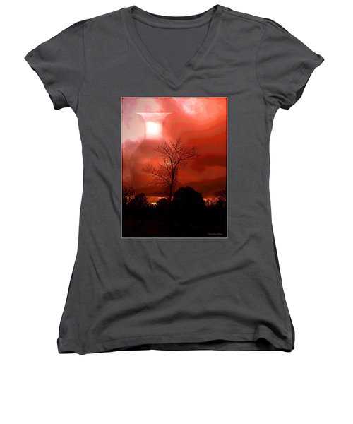 Women's V-Neck T-Shirt (Junior Cut) featuring the photograph Cottonwood Crimson Sunset by Joyce Dickens