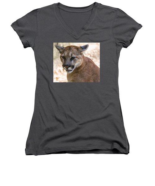 Cougar Portrait Women's V-Neck