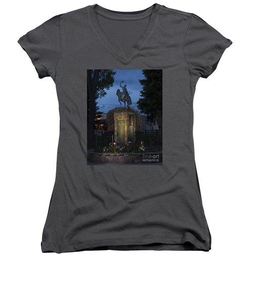 Coulter Memorial, Jackson, Wyoming Women's V-Neck T-Shirt