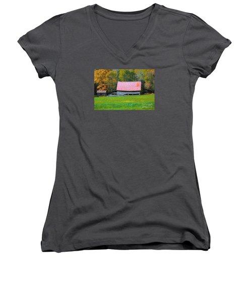 Country Autumn  Women's V-Neck T-Shirt (Junior Cut) by Marion Johnson