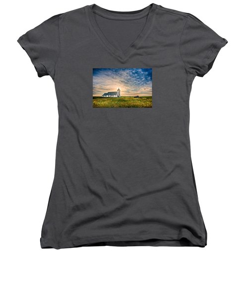 Country Church Sunrise Women's V-Neck T-Shirt (Junior Cut) by Rikk Flohr
