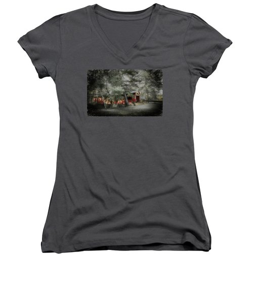 Women's V-Neck T-Shirt (Junior Cut) featuring the photograph Country Crossing by Marvin Spates