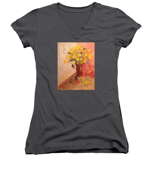 Country Flowers Women's V-Neck T-Shirt (Junior Cut) by Roxy Rich