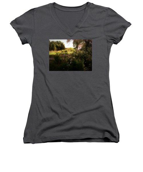 Country House Women's V-Neck T-Shirt (Junior Cut) by Cynthia Lassiter