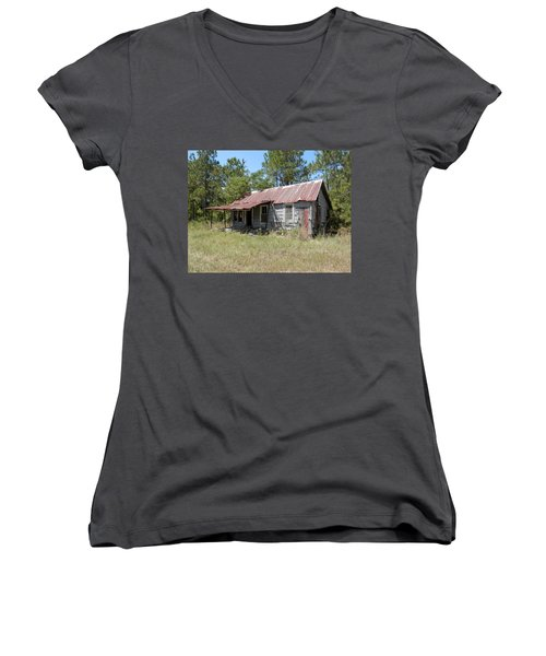 Country Living Gone To The Dawgs Women's V-Neck T-Shirt (Junior Cut) by Belinda Lee