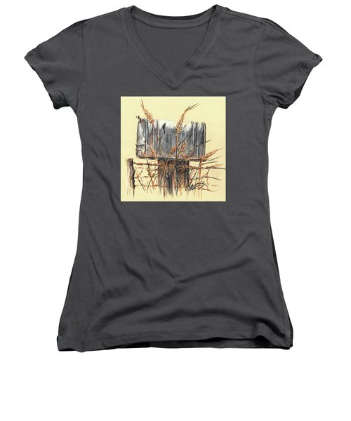 Country Mailbox In Colored Pencil Women's V-Neck (Athletic Fit)