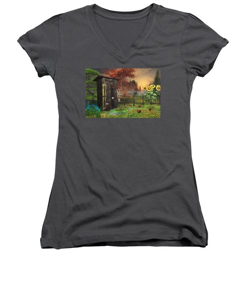 Country Outhouse Women's V-Neck T-Shirt (Junior Cut) by Mary Almond