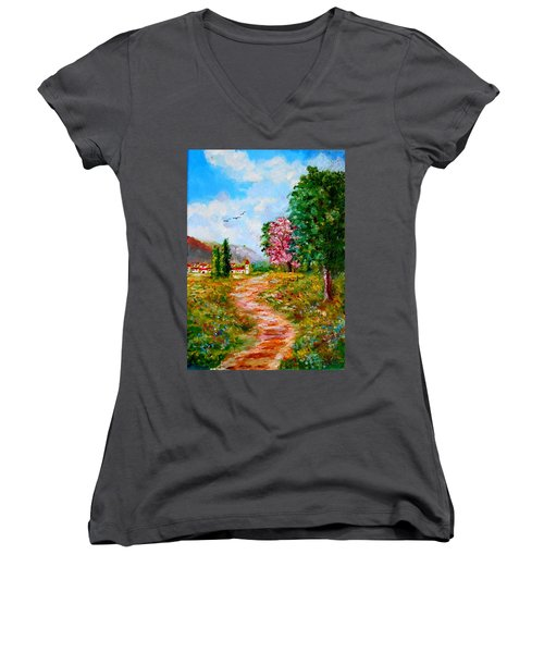 Country Pathway In Greece Women's V-Neck (Athletic Fit)