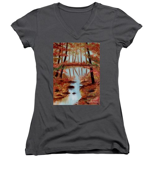 Country Reflections Women's V-Neck T-Shirt (Junior Cut) by Leslie Allen