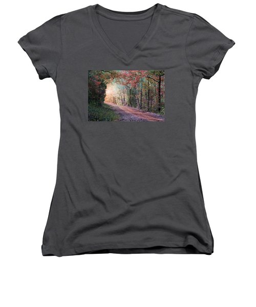 Country Road Women's V-Neck T-Shirt (Junior Cut) by Bill Stephens