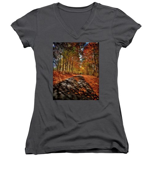 Country Road Women's V-Neck T-Shirt (Junior Cut) by Mark Allen