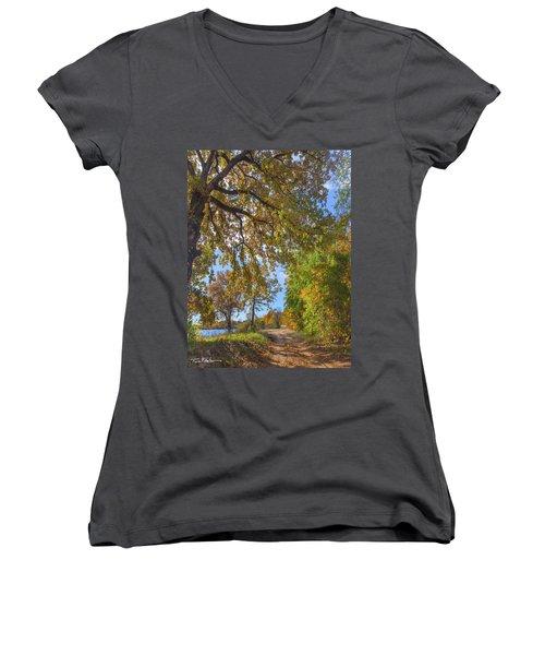 Country Road Women's V-Neck T-Shirt (Junior Cut) by Tim Fitzharris