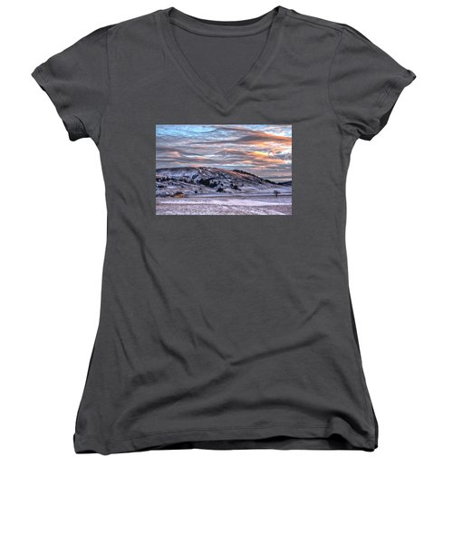 Women's V-Neck featuring the photograph Country Sky by Fiskr Larsen