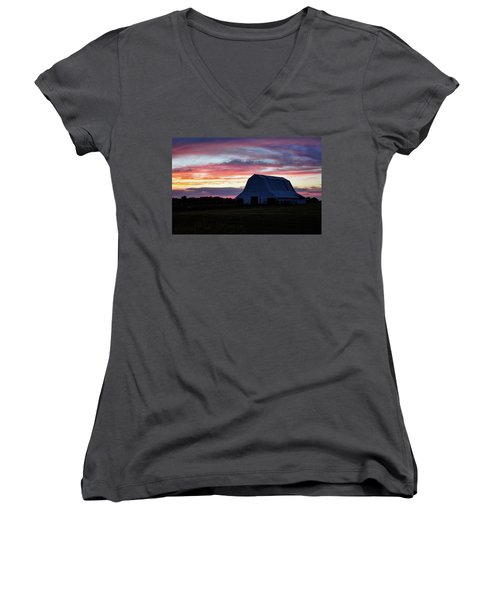 Women's V-Neck T-Shirt (Junior Cut) featuring the photograph Country Sunset by Cricket Hackmann