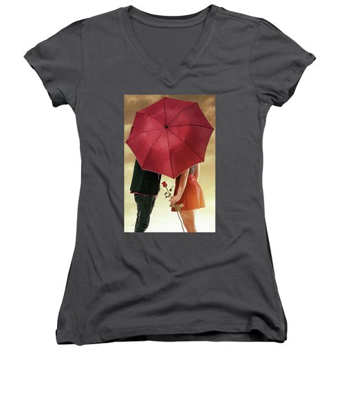 Women's V-Neck T-Shirt (Junior Cut) featuring the photograph Couple Of Sweethearts by Carlos Caetano