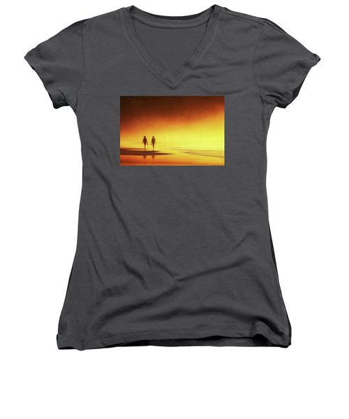 Couple Of Women Walking On Beach Women's V-Neck