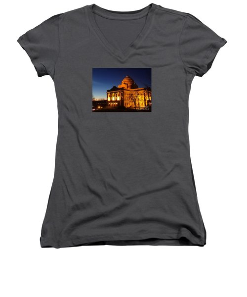 Women's V-Neck T-Shirt (Junior Cut) featuring the photograph Courthouse At Night by Christina Verdgeline