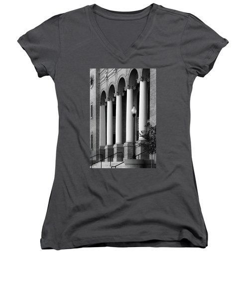Women's V-Neck T-Shirt (Junior Cut) featuring the photograph Courthouse Columns by Richard Rizzo