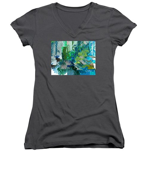 Courtyard Women's V-Neck T-Shirt (Junior Cut) by Alika Kumar