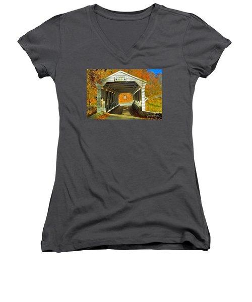 Women's V-Neck T-Shirt (Junior Cut) featuring the photograph Covered Bridge Impasto Oil by David Zanzinger