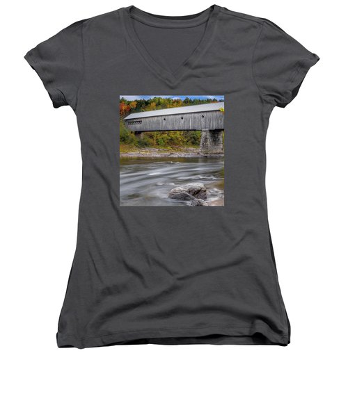 Covered Bridge In Vermont With Fall Foliage Women's V-Neck