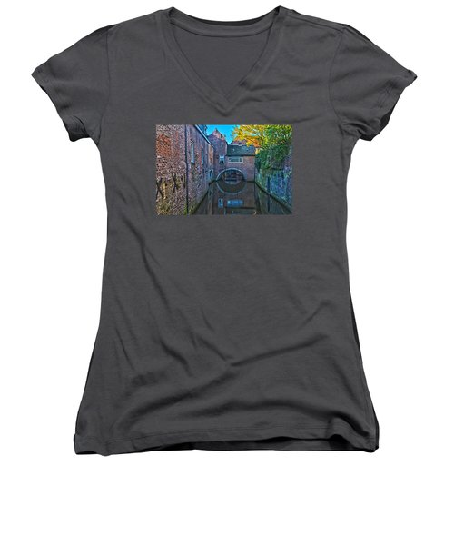 Covered Canal In Den Bosch Women's V-Neck T-Shirt (Junior Cut) by Frans Blok