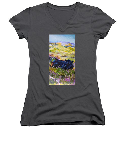 Cow Lying Down Among Plants Women's V-Neck