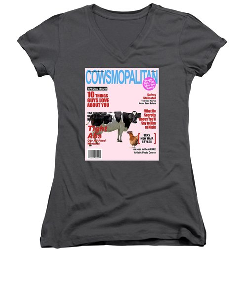 Women's V-Neck T-Shirt (Junior Cut) featuring the photograph Cow Poster by James Bethanis
