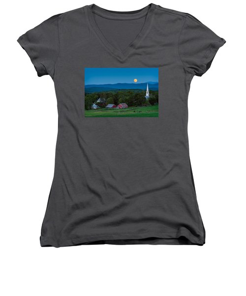 Cow Under The Moon Women's V-Neck