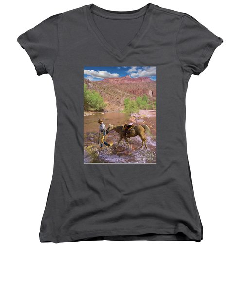 Cowboy And Horse Women's V-Neck T-Shirt