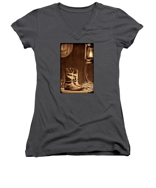 Cowboy Boots At The Ranch Women's V-Neck T-Shirt