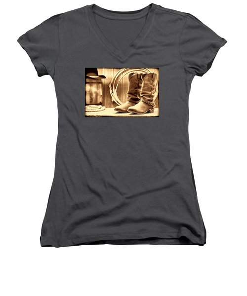 Cowboy Boots On The Deck Women's V-Neck