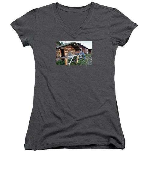 Cowboy Cabin Women's V-Neck T-Shirt (Junior Cut) by Diane Bohna