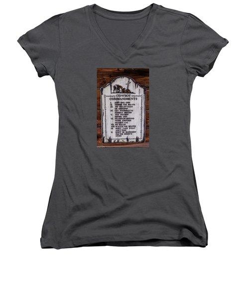 Cowboy Commandments Women's V-Neck (Athletic Fit)