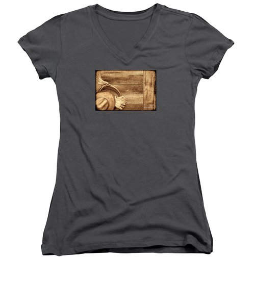 Cowboy Gear On The Floor Women's V-Neck T-Shirt (Junior Cut) by American West Legend By Olivier Le Queinec