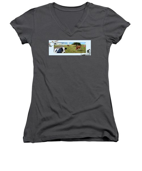 Cows In Field, Ver 4 Women's V-Neck T-Shirt