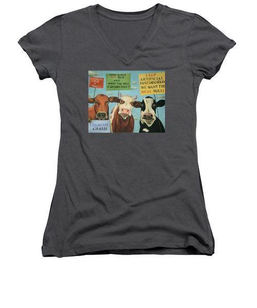 Women's V-Neck T-Shirt (Junior Cut) featuring the painting Cows On Strike by Leah Saulnier The Painting Maniac