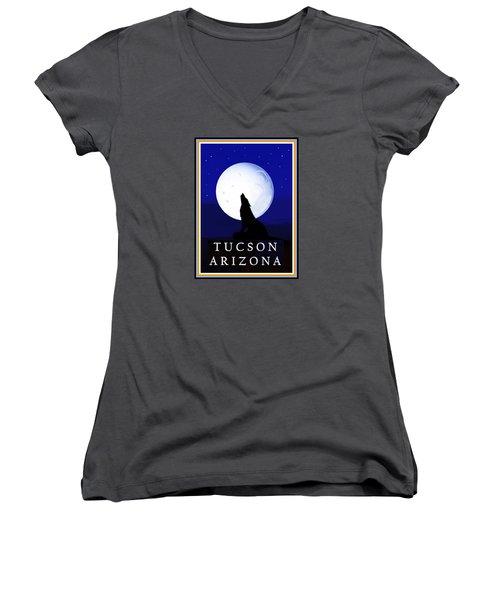 Women's V-Neck T-Shirt featuring the digital art Coyote Moon - Tucson, Arizona by Vagabond Folk Art - Virginia Vivier