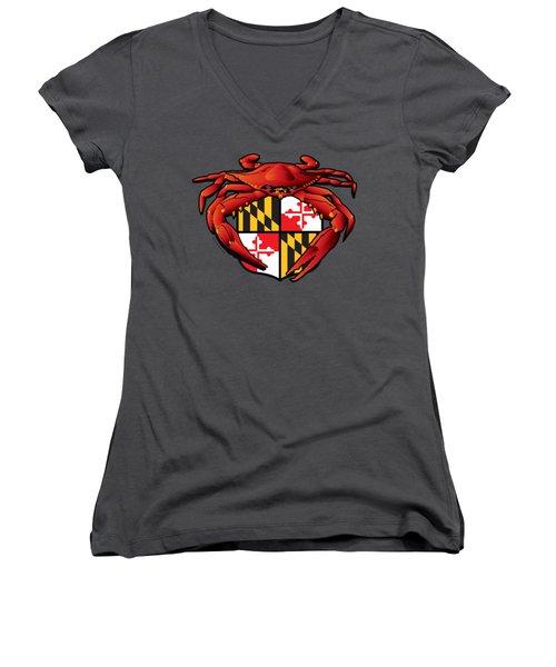 Crab Feast Maryland Flag Crest Women's V-Neck (Athletic Fit)