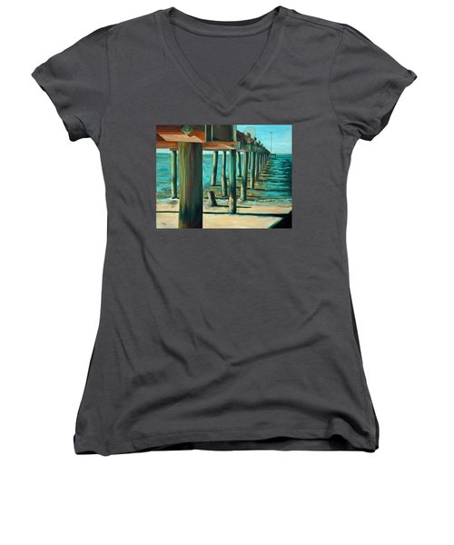 Women's V-Neck T-Shirt (Junior Cut) featuring the painting Crabbing At Low Tide by Suzanne McKee