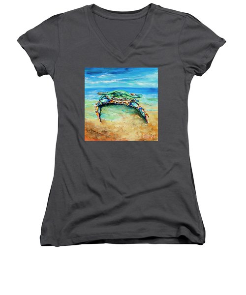 Crabby At The Beach Women's V-Neck T-Shirt