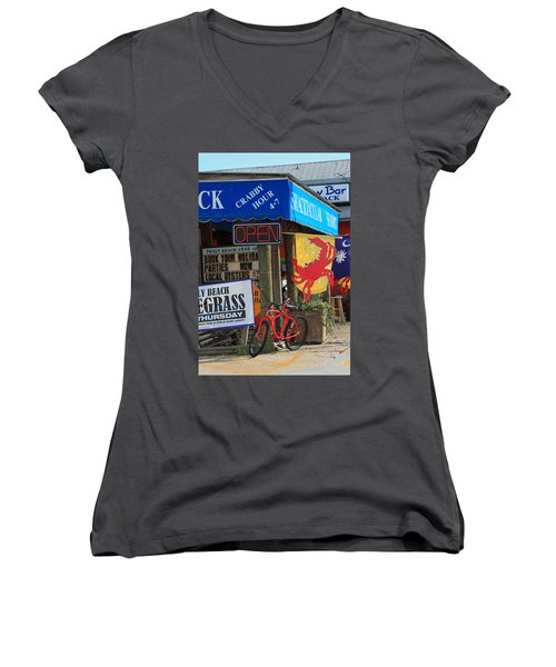 Crabby Hour 4-7 Women's V-Neck T-Shirt (Junior Cut) by Suzanne Gaff