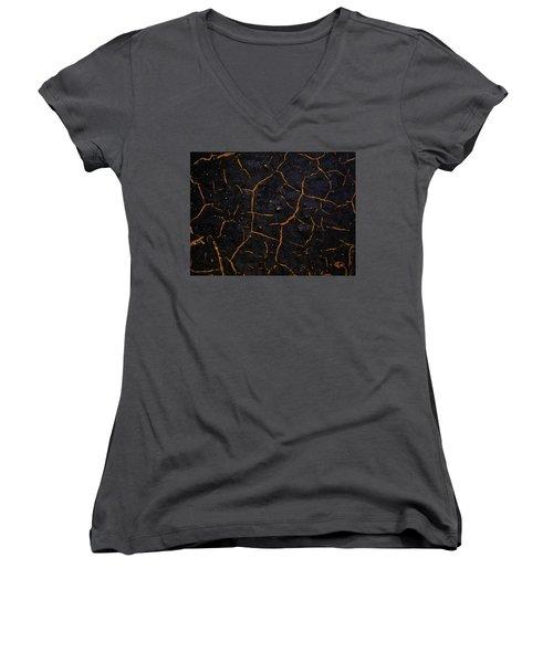 Women's V-Neck T-Shirt (Junior Cut) featuring the photograph Cracking Paint by Jason Moynihan