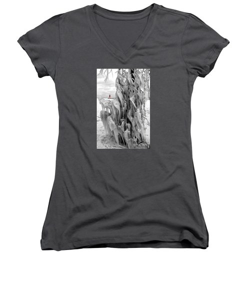 Women's V-Neck T-Shirt (Junior Cut) featuring the photograph Cradled In Ice - Menominee North Pier Lighthouse by Mark J Seefeldt