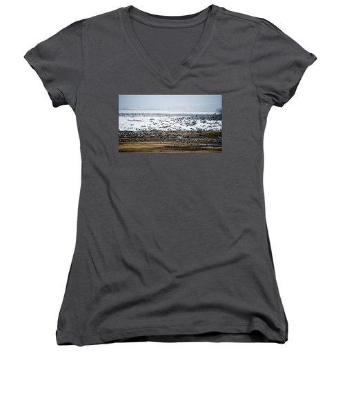 Crane Dance Women's V-Neck T-Shirt (Junior Cut) by Torbjorn Swenelius