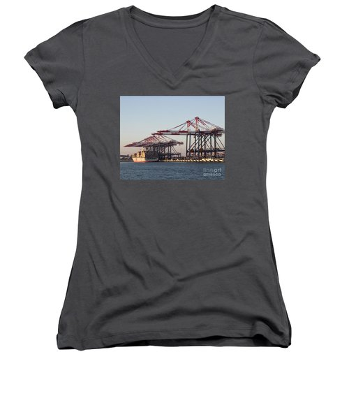 Cranes 2 Women's V-Neck T-Shirt (Junior Cut) by Cheryl Del Toro